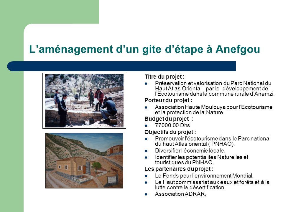 Laménagement dun gite détape à Anefgou Titre du projet : Préservation et valorisation du Parc National du Haut Atlas Oriental par le développement de lEcotourisme dans la commune rurale dAnemzi.