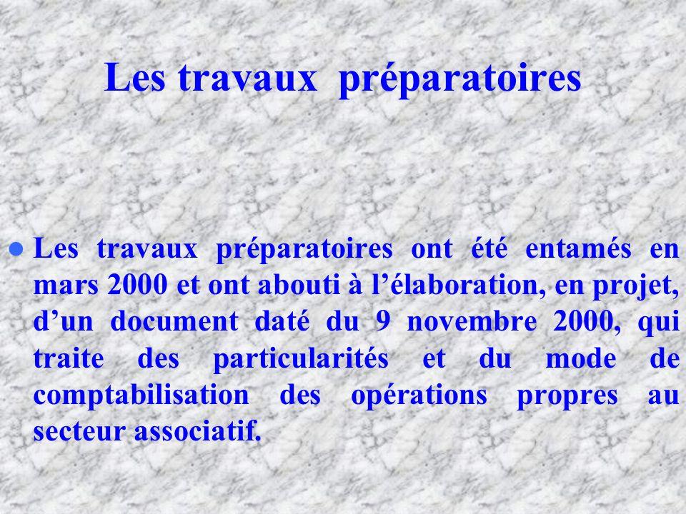 Les travaux préparatoires Les travaux préparatoires ont été entamés en mars 2000 et ont abouti à lélaboration, en projet, dun document daté du 9 novembre 2000, qui traite des particularités et du mode de comptabilisation des opérations propres au secteur associatif.