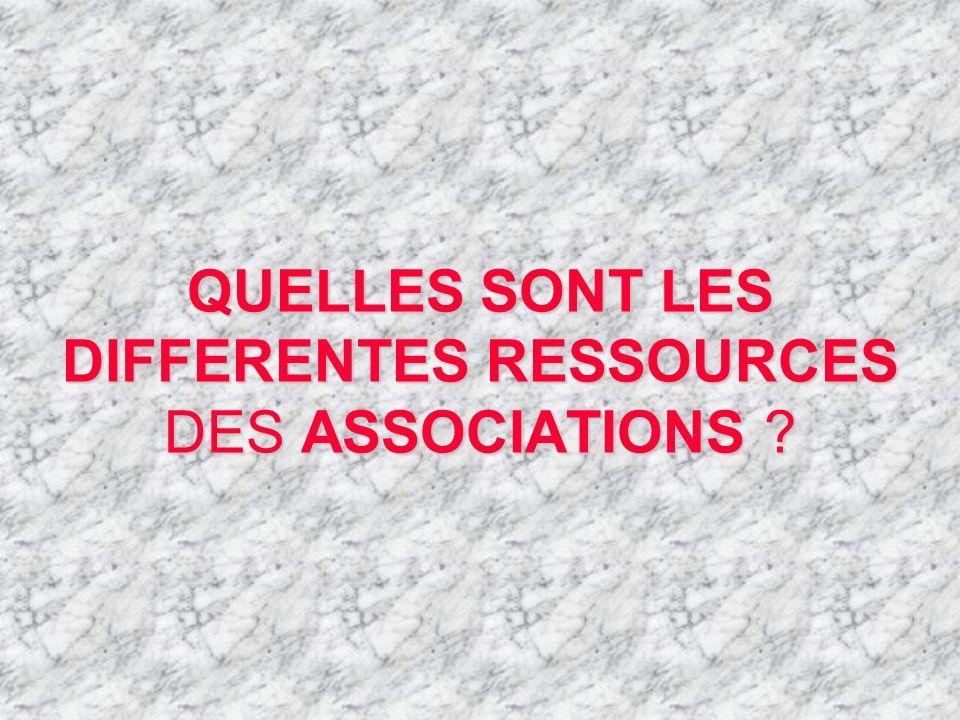 QUELLES SONT LES DIFFERENTES RESSOURCES DES ASSOCIATIONS ?