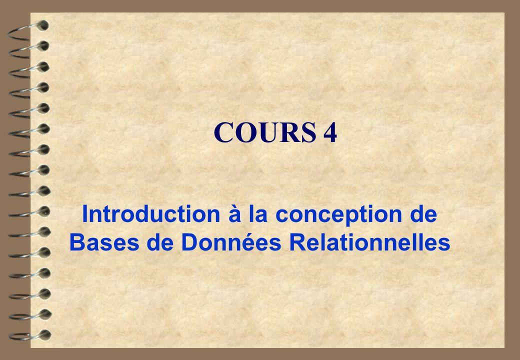 COURS 4 Introduction à la conception de Bases de Données Relationnelles