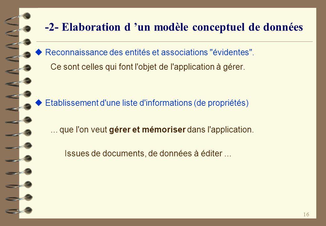 16 -2- Elaboration d un modèle conceptuel de données Reconnaissance des entités et associations