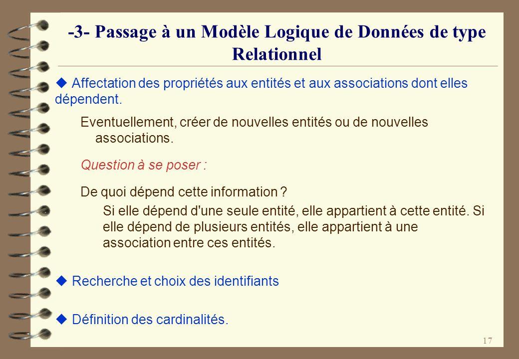 17 -3- Passage à un Modèle Logique de Données de type Relationnel Affectation des propriétés aux entités et aux associations dont elles dépendent. Eve