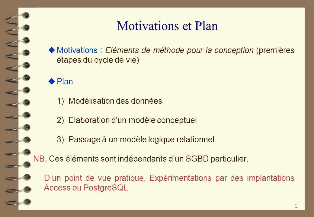 2 Motivations et Plan Motivations : Eléments de méthode pour la conception (premières étapes du cycle de vie) Plan 1) Modélisation des données 2) Elab