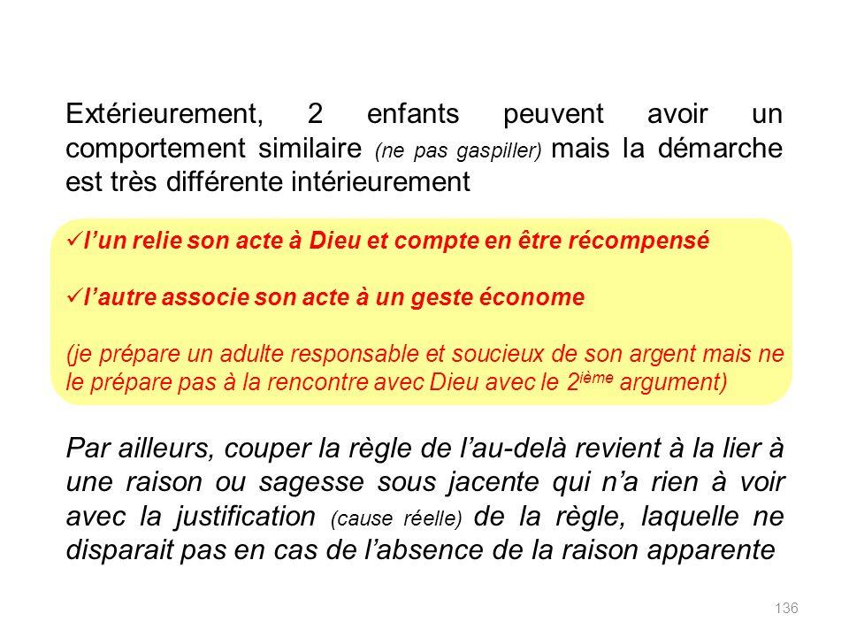 Par exemple, 2 justifications sont possibles pour en tant que parent interdire le gaspillage Parce que Dieu naime pas les gaspilleurs et on rendra des