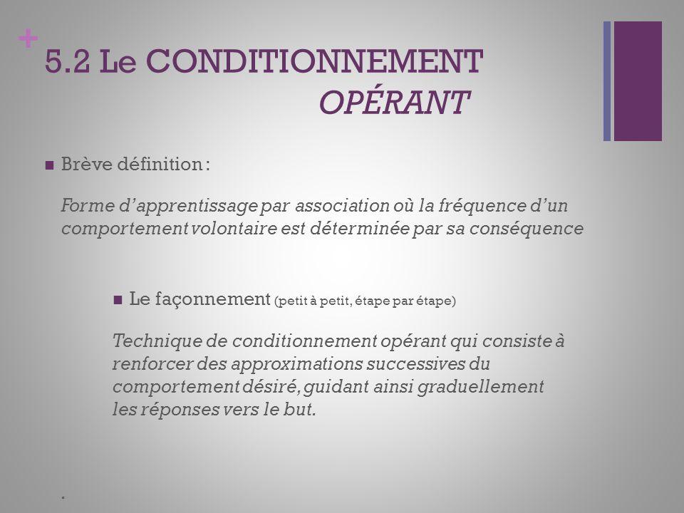 + 5.2 Le CONDITIONNEMENT OPÉRANT Brève définition : Forme dapprentissage par association où la fréquence dun comportement volontaire est déterminée pa
