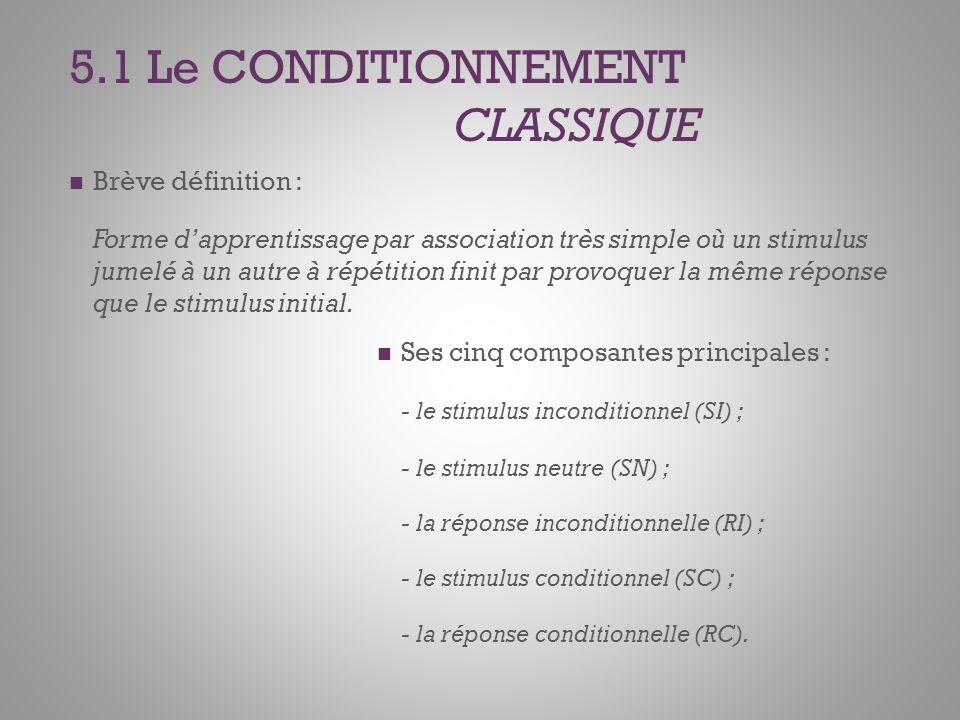 5.1 Le CONDITIONNEMENT CLASSIQUE Brève définition : Forme dapprentissage par association très simple où un stimulus jumelé à un autre à répétition finit par provoquer la même réponse que le stimulus initial.