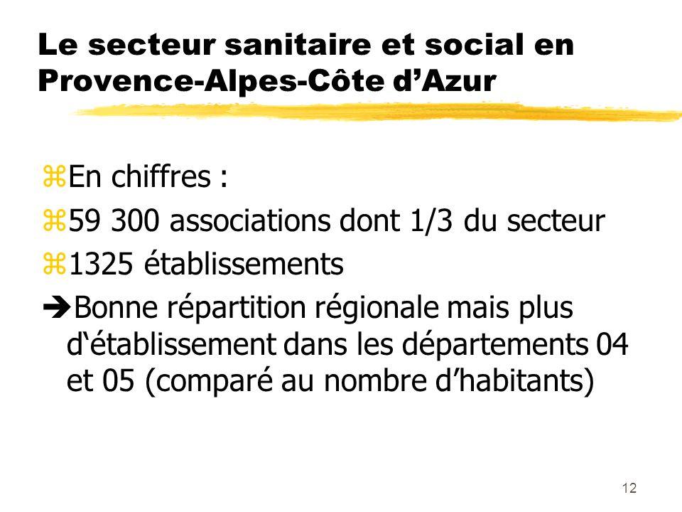 12 Le secteur sanitaire et social en Provence-Alpes-Côte dAzur zEn chiffres : z59 300 associations dont 1/3 du secteur z1325 établissements Bonne répartition régionale mais plus détablissement dans les départements 04 et 05 (comparé au nombre dhabitants)