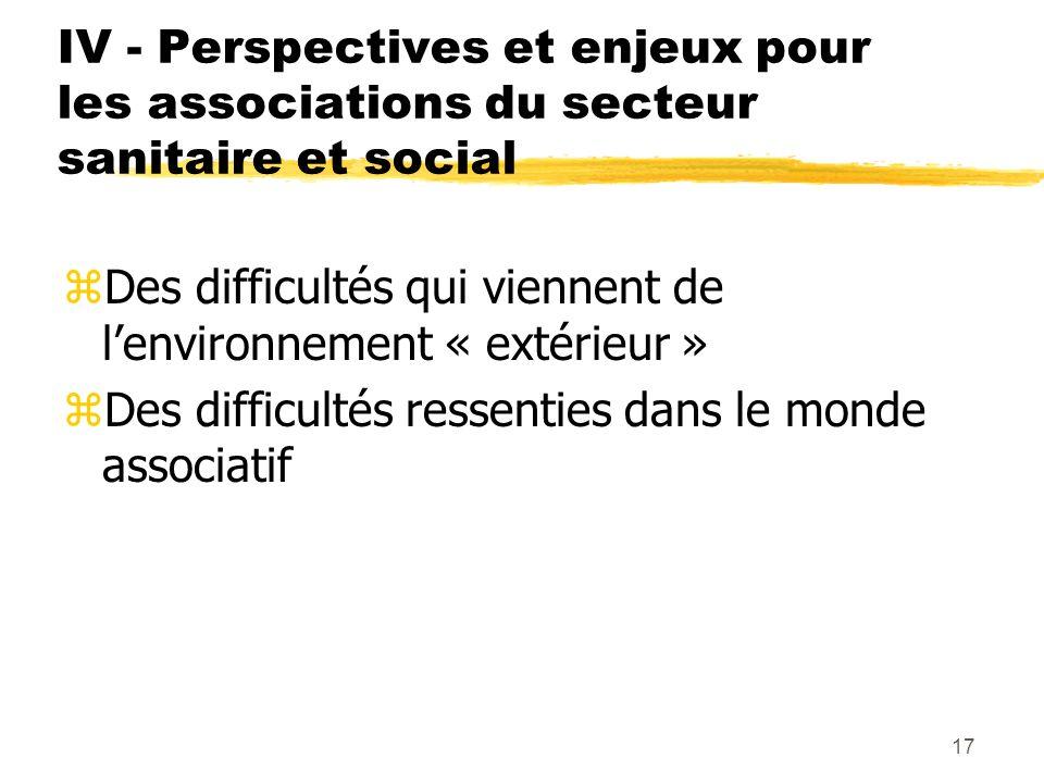 17 IV - Perspectives et enjeux pour les associations du secteur sanitaire et social zDes difficultés qui viennent de lenvironnement « extérieur » zDes difficultés ressenties dans le monde associatif