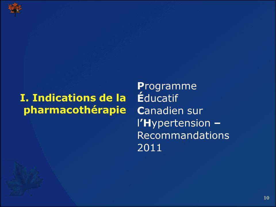 10 I. Indications de la pharmacothérapie Programme Éducatif Canadien sur lHypertension – Recommandations 2011