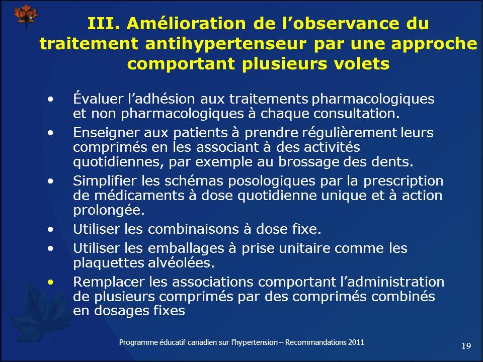 19 Programme éducatif canadien sur lhypertension – Recommandations 2011 III. Amélioration de lobservance du traitement antihypertenseur par une approc