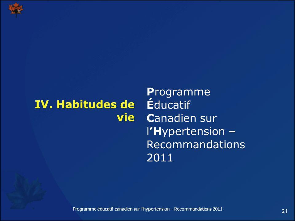 21 Programme éducatif canadien sur lhypertension – Recommandations 2011 IV. Habitudes de vie Programme Éducatif Canadien sur lHypertension – Recommand