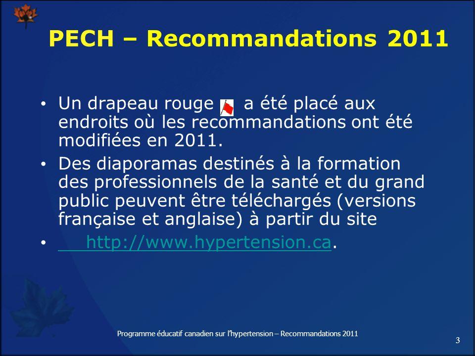 3 Programme éducatif canadien sur lhypertension – Recommandations 2011 Un drapeau rouge a été placé aux endroits où les recommandations ont été modifi
