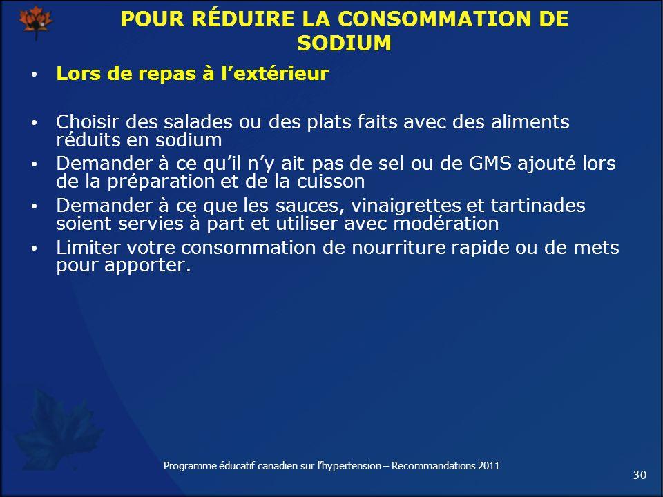 30 Programme éducatif canadien sur lhypertension – Recommandations 2011 POUR RÉDUIRE LA CONSOMMATION DE SODIUM Lors de repas à lextérieur Choisir des