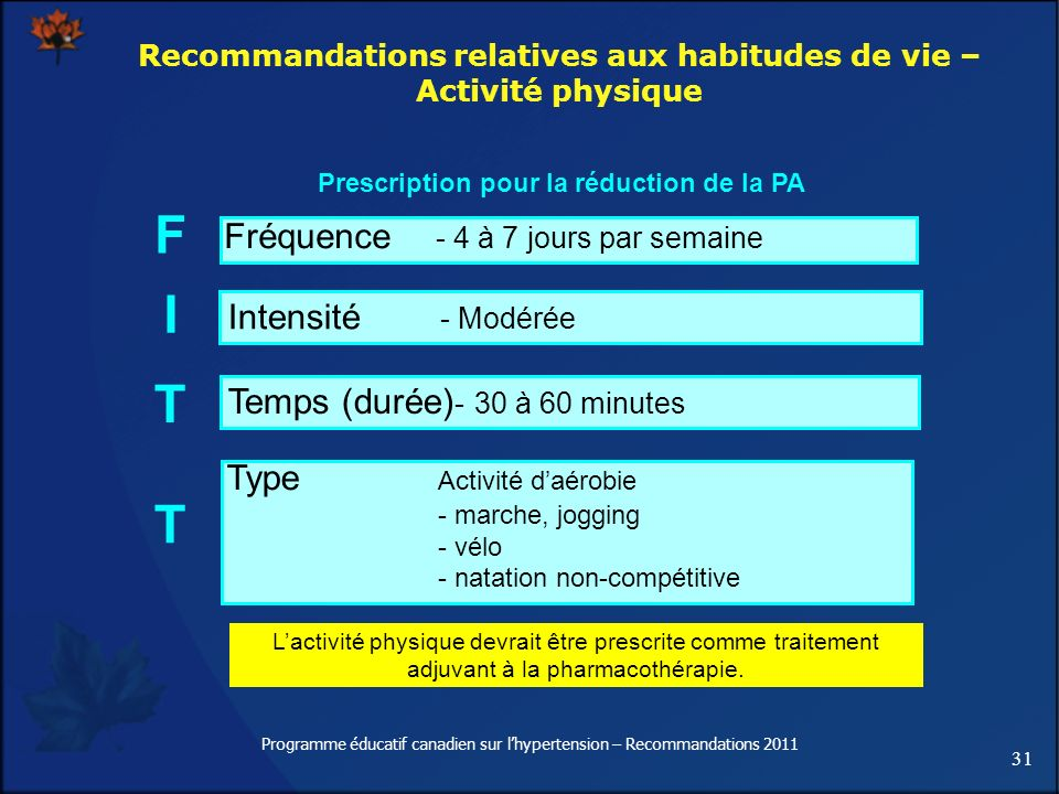 31 Programme éducatif canadien sur lhypertension – Recommandations 2011 Lactivité physique devrait être prescrite comme traitement adjuvant à la pharm