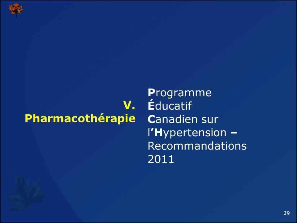 39 V. Pharmacothérapie Programme Éducatif Canadien sur lHypertension – Recommandations 2011