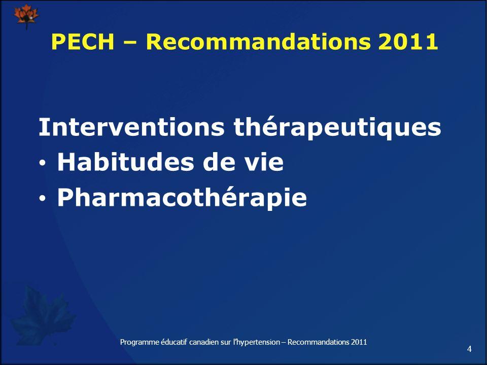 4 Programme éducatif canadien sur lhypertension – Recommandations 2011 Interventions thérapeutiques Habitudes de vie Pharmacothérapie PECH – Recommand