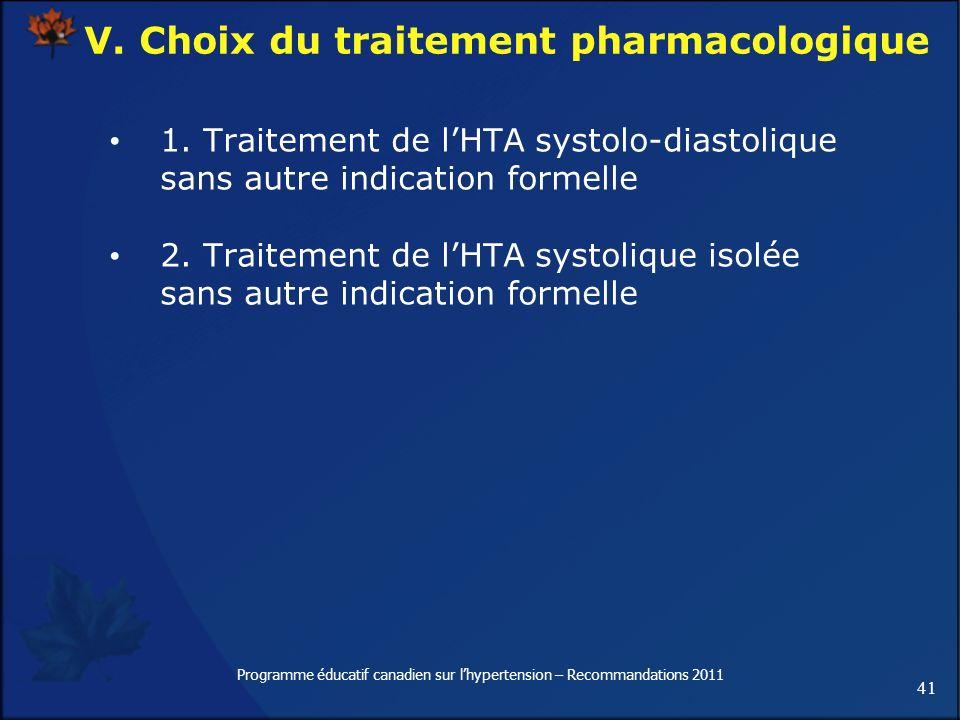 41 Programme éducatif canadien sur lhypertension – Recommandations 2011 V. Choix du traitement pharmacologique 1. Traitement de lHTA systolo-diastoliq