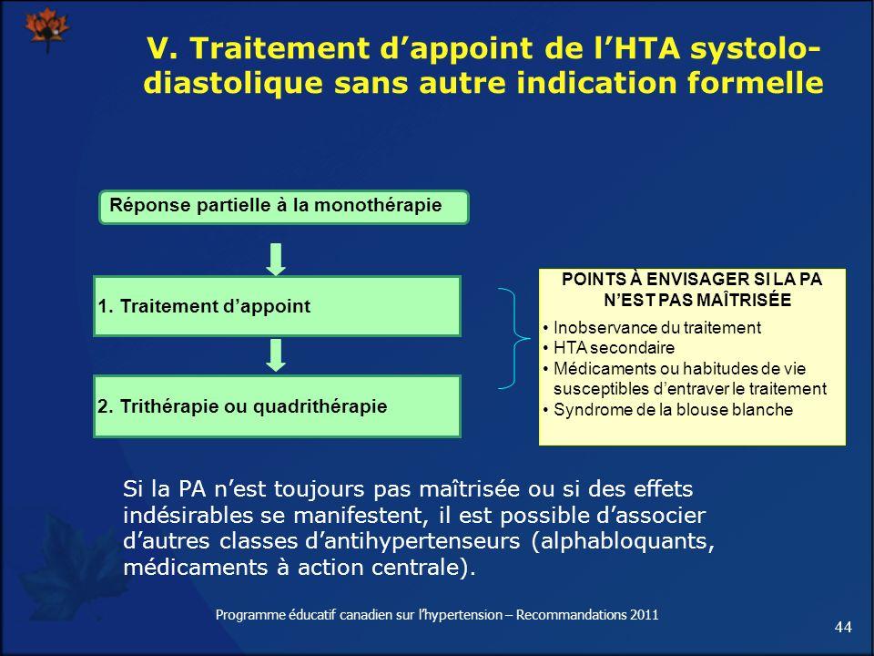 44 Programme éducatif canadien sur lhypertension – Recommandations 2011 V. Traitement dappoint de lHTA systolo- diastolique sans autre indication form