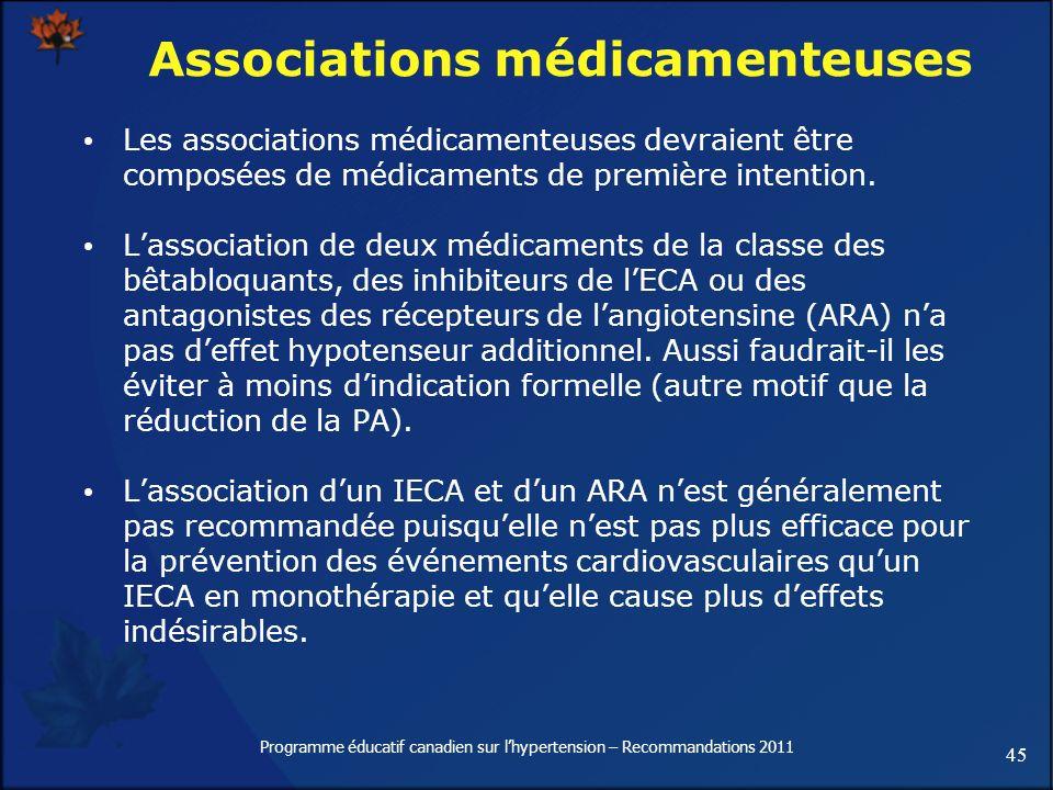 45 Programme éducatif canadien sur lhypertension – Recommandations 2011 Associations médicamenteuses Les associations médicamenteuses devraient être c