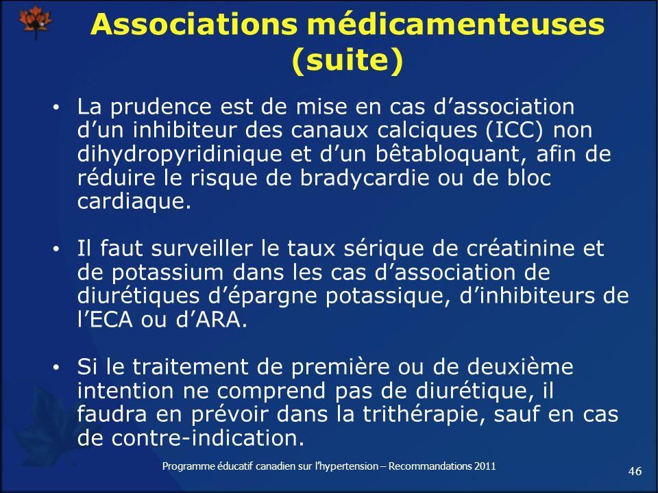 46 Programme éducatif canadien sur lhypertension – Recommandations 2011 Associations médicamenteuses (suite) La prudence est de mise en cas dassociati