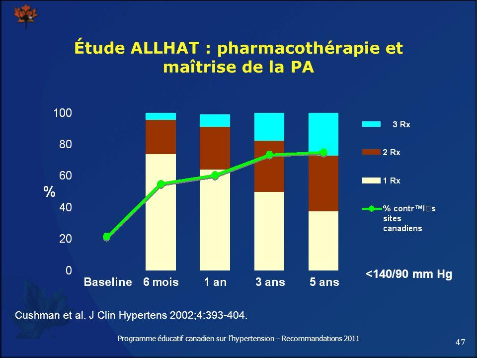 47 Programme éducatif canadien sur lhypertension – Recommandations 2011 Étude ALLHAT : pharmacothérapie et maîtrise de la PA Cushman et al. J Clin Hyp
