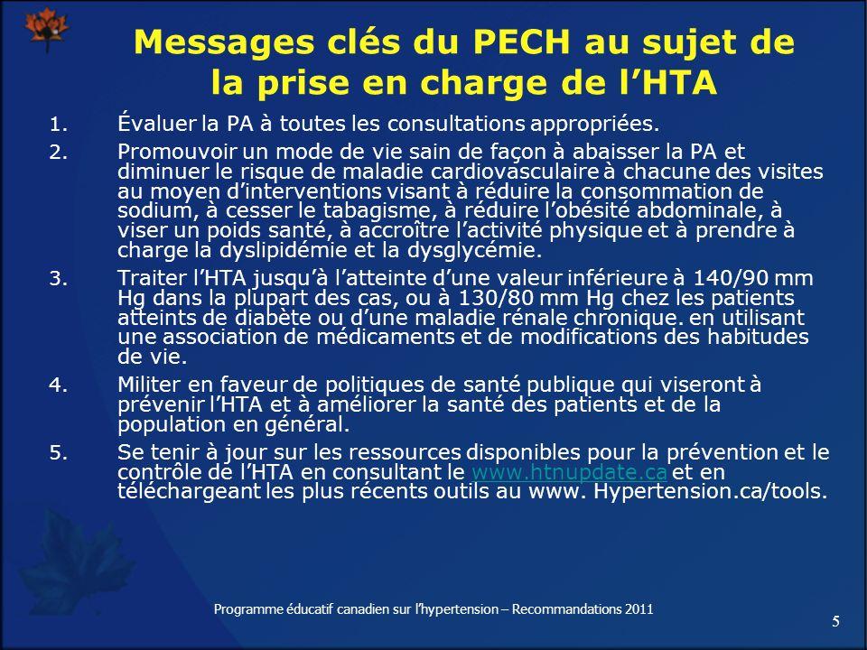 5 Programme éducatif canadien sur lhypertension – Recommandations 2011 1. Évaluer la PA à toutes les consultations appropriées. 2. Promouvoir un mode