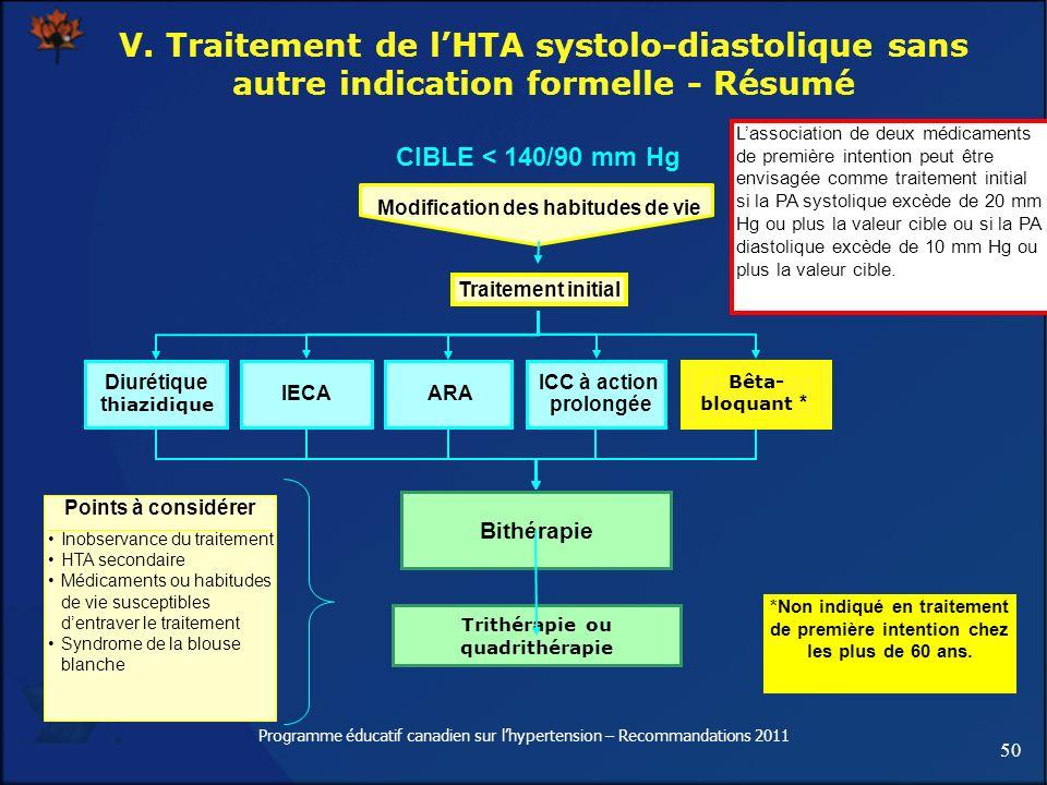 50 Programme éducatif canadien sur lhypertension – Recommandations 2011 V. Traitement de lHTA systolo-diastolique sans autre indication formelle - Rés