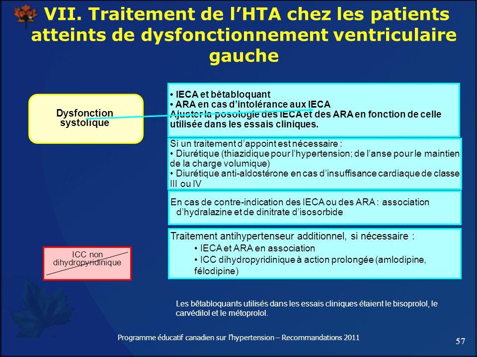 57 Programme éducatif canadien sur lhypertension – Recommandations 2011 VII. Traitement de lHTA chez les patients atteints de dysfonctionnement ventri
