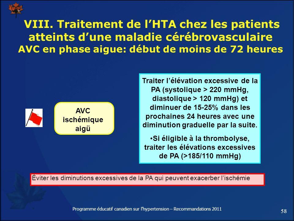 58 Programme éducatif canadien sur lhypertension – Recommandations 2011 VIII. Traitement de lHTA chez les patients atteints dune maladie cérébrovascul