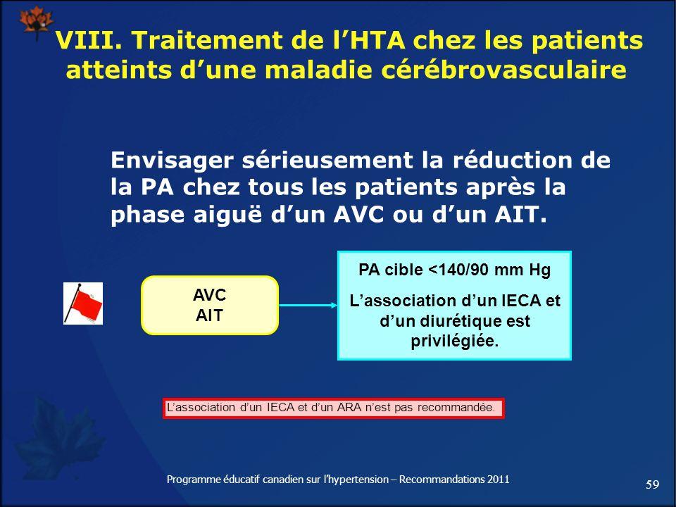 59 Programme éducatif canadien sur lhypertension – Recommandations 2011 VIII. Traitement de lHTA chez les patients atteints dune maladie cérébrovascul