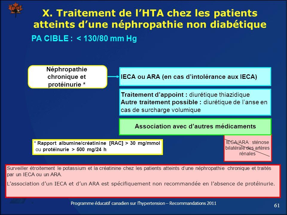 61 Programme éducatif canadien sur lhypertension – Recommandations 2011 X. Traitement de lHTA chez les patients atteints dune néphropathie non diabéti