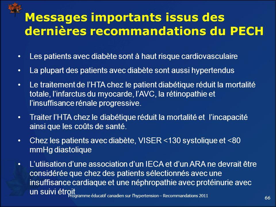 66 Programme éducatif canadien sur lhypertension – Recommandations 2011 Messages importants issus des dernières recommandations du PECH Les patients a