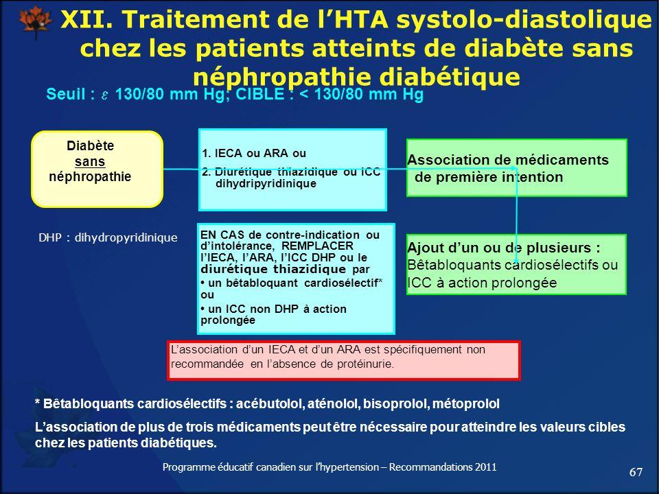 67 Programme éducatif canadien sur lhypertension – Recommandations 2011 XII. Traitement de lHTA systolo-diastolique chez les patients atteints de diab