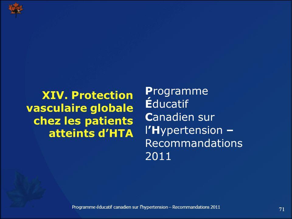 71 Programme éducatif canadien sur lhypertension – Recommandations 2011 XIV. Protection vasculaire globale chez les patients atteints dHTA Programme É