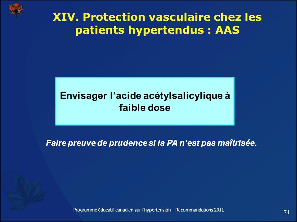 74 Programme éducatif canadien sur lhypertension – Recommandations 2011 XIV. Protection vasculaire chez les patients hypertendus : AAS Envisager lacid