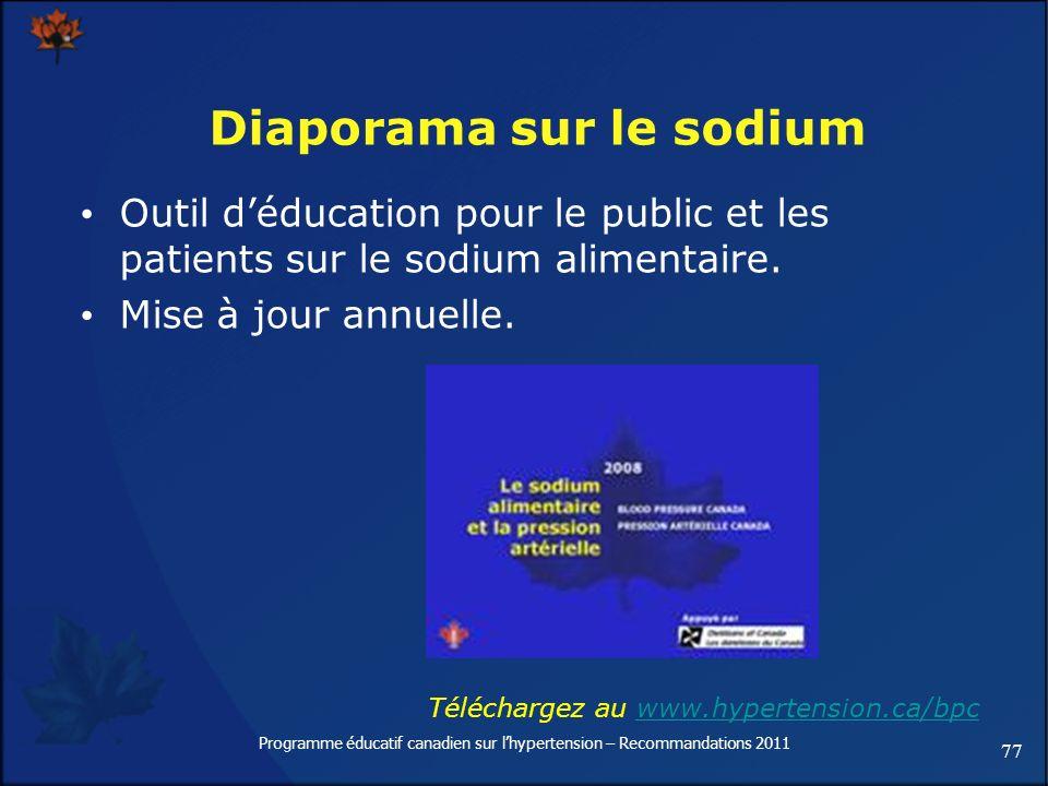 77 Programme éducatif canadien sur lhypertension – Recommandations 2011 Diaporama sur le sodium Outil déducation pour le public et les patients sur le