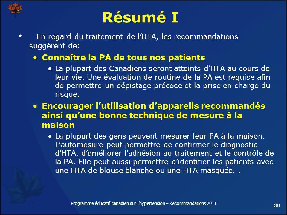80 Programme éducatif canadien sur lhypertension – Recommandations 2011 Résumé I En regard du traitement de lHTA, les recommandations suggèrent de: Co