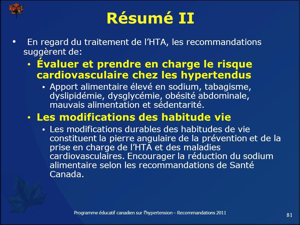 81 Programme éducatif canadien sur lhypertension – Recommandations 2011 Résumé II En regard du traitement de lHTA, les recommandations suggèrent de: É