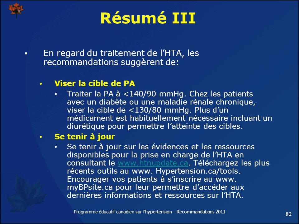 82 Programme éducatif canadien sur lhypertension – Recommandations 2011 Résumé III En regard du traitement de lHTA, les recommandations suggèrent de: