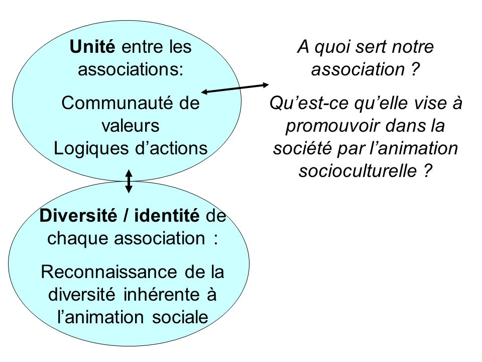 Unité entre les associations: Communauté de valeurs Logiques dactions Diversité / identité de chaque association : Reconnaissance de la diversité inhérente à lanimation sociale A quoi sert notre association .