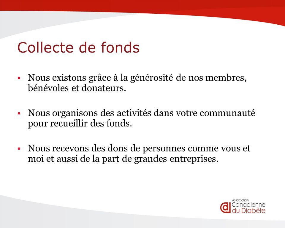 Collecte de fonds Nous existons grâce à la générosité de nos membres, bénévoles et donateurs.