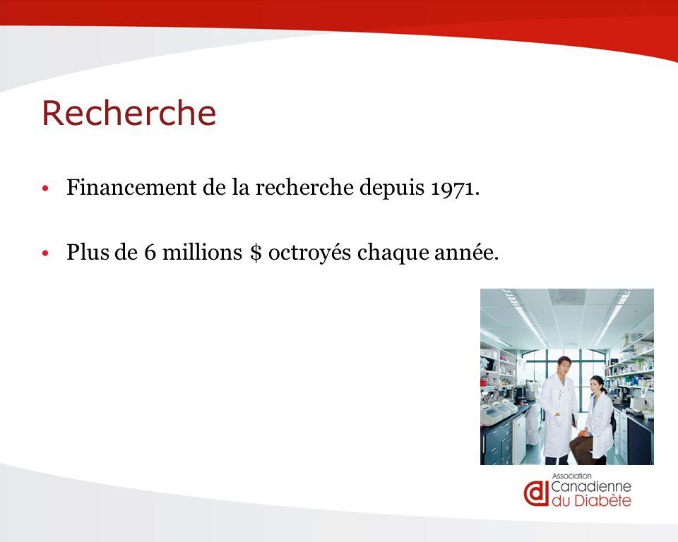 Recherche Financement de la recherche depuis 1971. Plus de 6 millions $ octroyés chaque année.