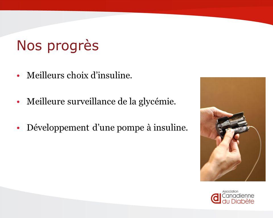 Nos progrès Meilleurs choix dinsuline. Meilleure surveillance de la glycémie.