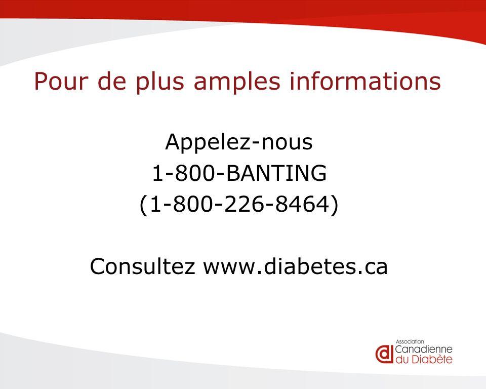 Pour de plus amples informations Appelez-nous 1-800-BANTING (1-800-226-8464) Consultez www.diabetes.ca