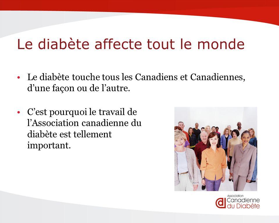Le diabète affecte tout le monde Le diabète touche tous les Canadiens et Canadiennes, dune façon ou de lautre.