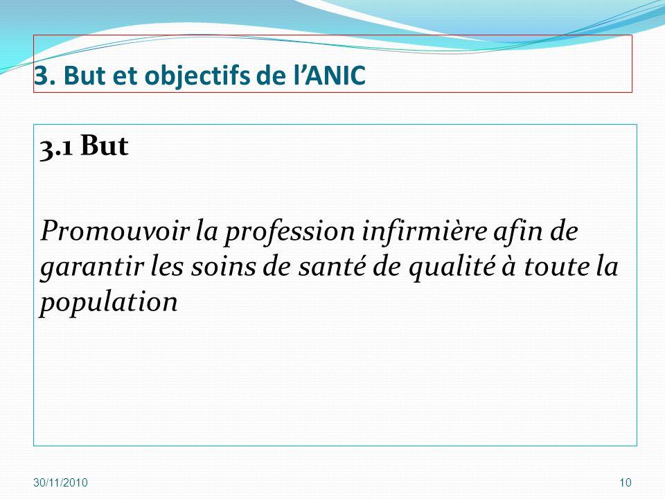 3. But et objectifs de lANIC 3.1 But Promouvoir la profession infirmière afin de garantir les soins de santé de qualité à toute la population 30/11/20