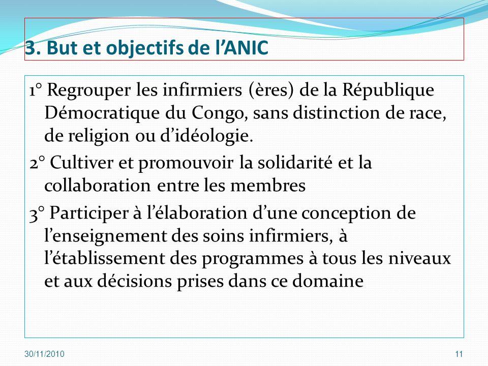 3. But et objectifs de lANIC 1° Regrouper les infirmiers (ères) de la République Démocratique du Congo, sans distinction de race, de religion ou didéo