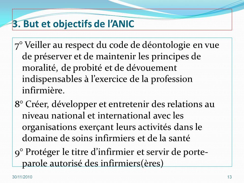 3. But et objectifs de lANIC 7° Veiller au respect du code de déontologie en vue de préserver et de maintenir les principes de moralité, de probité et