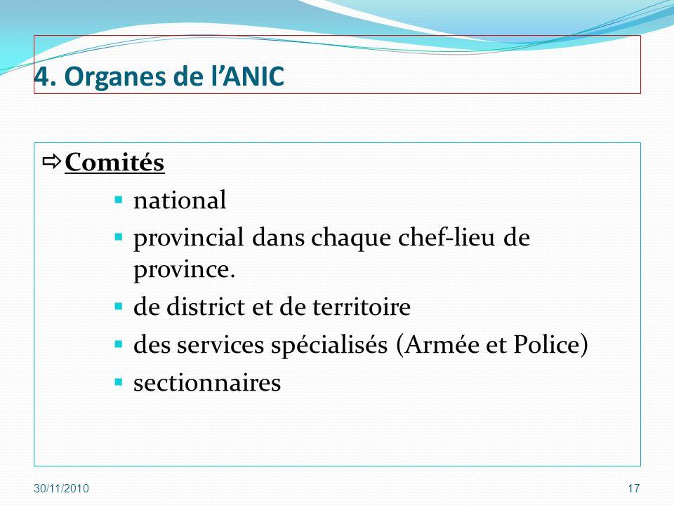 4. Organes de lANIC Comités national provincial dans chaque chef-lieu de province. de district et de territoire des services spécialisés (Armée et Pol