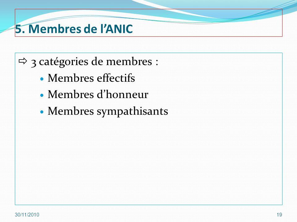 5. Membres de lANIC 3 catégories de membres : Membres effectifs Membres dhonneur Membres sympathisants 30/11/201019